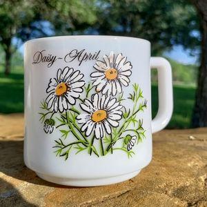 VTG April Daisy flower milk glass mug